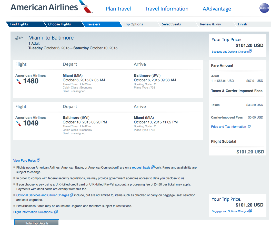 RT @airfarewatchdog: Miami-Ballmer BWI $101 RT nonstop on AA on dates shown and others
