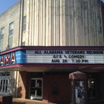 Ready for our show tonight at historic @bamatheatre in downtown #Tuscaloosa. @gisofcomedy @VisitTuscaloosa #Veterans http://t.co/1pUmZhql2M