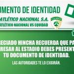 Recuerda presentar tu documento de identidad a la hora de ingresar al estadio. http://t.co/rZLDfwhije