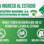 Recomendaciones para el ingreso al estadio Atanasio Girardot al partido de esta noche ante Equidad. http://t.co/krIeCiosLc