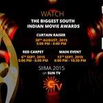 RT @rameshlaus: . @siima 2015 @SunTV Schedule  Curtain Raiser: Aug 30th - 5pm  Red Carpet: Sep 6th - 5pm  Main Event: Sep 13th - 6pm