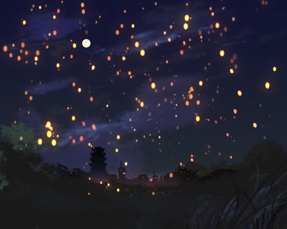 #画画画# 赶在中元节结束前摸了张图。灯!想画很多很多灯!就是这样~ http://t.co/fN1zSfWYhp