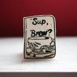 #eshopsuk SUp, Brew? (Black) a new #tea #book inspired #brooch http://t.co/4jbLTgmOcQ http://t.co/WG682wkgus