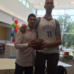 Enes Kanter is 6-foot-11 but looks like a kid next to the world's tallest man at 8-foot-3 (via @Enes_Kanter).
