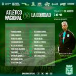Los 18 convocados del verde para el partido ante La Equidad por la fecha 9 de la Liga colombiana. #VamosNacional http://t.co/mat73XIMUF