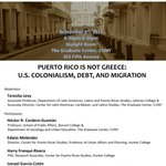 #PuertoRico is not Greece #CUNY #GraduateCenter Economic Crisis Panel. Sept 8.6:30 PM http://t.co/UbaVOCyZX5