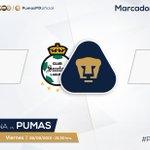 Termina la primera mitad. @ClubSantos 2-3 #Pumas. #PorTiUniversidad http://t.co/a6lYQzH6YL