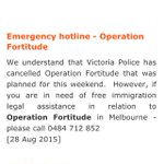 PLS SHARE: Need free immigration legal help re #OperationFortitude in Melbourne? Call RILC hotline. #BorderForce http://t.co/xlmhWm5eJq