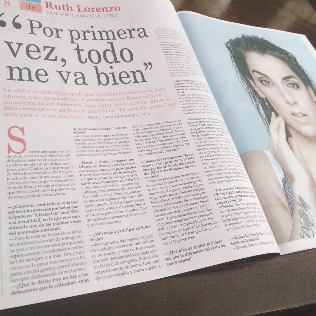 Y hoy por fin ha salido en La Voz de Galicia mi entrevista a @RuthLorenzo1. ❤️ http://t.co/y0JuptwH1O