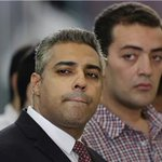 #Egypt travesty of justice continues:@MFFahmy11 @Bahrooz @petergreste sentenced to 3yrs prison #AJTrial #FreeAJstaff http://t.co/RVTlZiYdhY