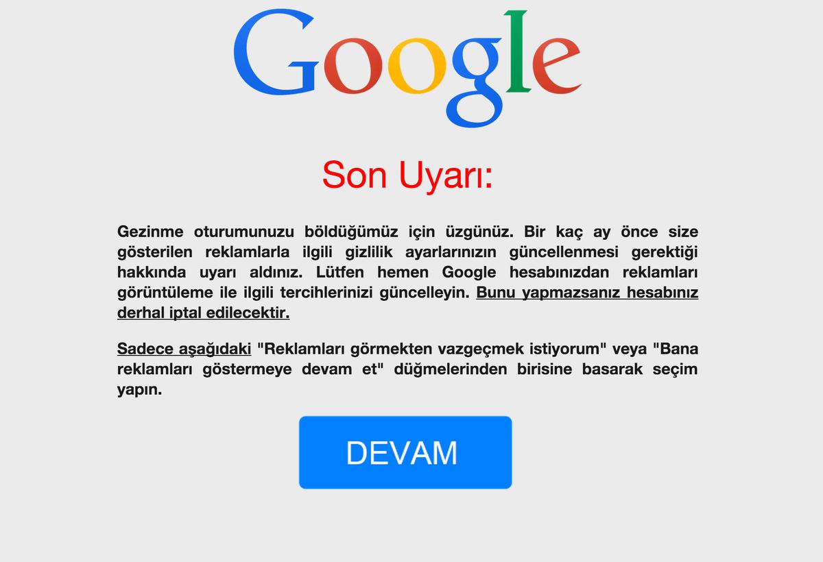 Web'de gezinirken bu tarz bir uyarıyla karşılaşırsanız hiçbir linke tıklamayın, güvenliğiniz için o sayfayı kapatın. http://t.co/y1bX6qHZHM