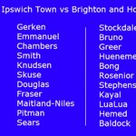 TEAM NEWS: Ipswich Town Vs Brighton. Two changes from last weeks win at Preston. http://t.co/ckZKIvJMCx