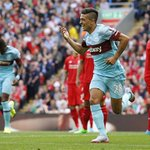 A dream start... Lanzini celebrates his 1st goal for @whufc_official on his 1st #BPL start. They still lead #LFC 1-0 http://t.co/46kcynDOe3