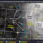 Smoke from wildfires to our northwest slow to move out of eastern Colorado today. Satellite photo of smoke.#COwx http://t.co/KHHd5NiCfk