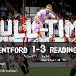 FULL-TIME: Brentford 1-3 Reading. One from @ORLANDOSA10 and two from @nblackman89 hand the Royals a win. http://t.co/FibIEIph9W