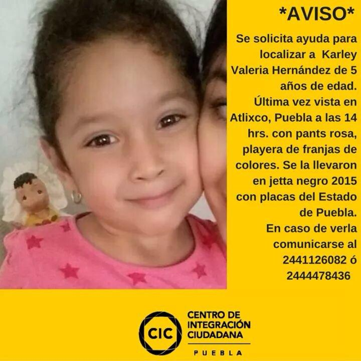 Ayuda p/ubicar a #Karley #Puebla #Mexico @Alerosas20 @joss_santos @castilloloyo @elsalvadorrios @efranc81@Luclamari http://t.co/l74CToYgpp