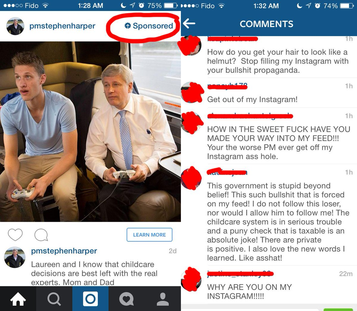 Stephen Harper invades Instagram with sponsored posts. As usual, the comments are the best. #elxn42 #cdnpoli http://t.co/R49OfsV0oU