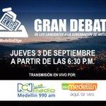 Vota a conciencia, conoce a los candidatos a la Gobernación de Antioquia. Gran Debate #MedellínElige @RCN990Medellin http://t.co/etfHI6lWfX