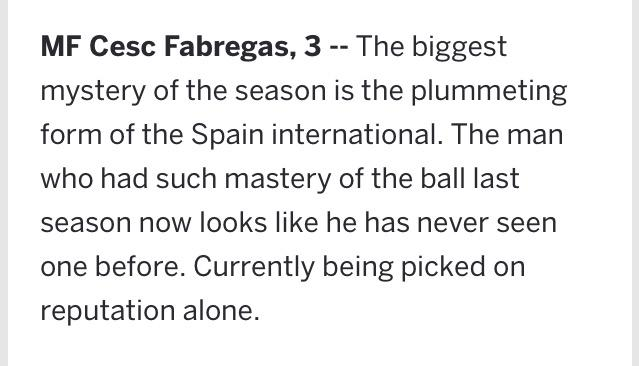This is brilliant! @ESPNFC giving Fabregas a match rating of 3 for today's match
