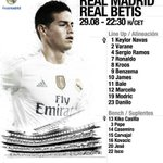 Heres our starting XI against Betis at the Bernabéu tonight. ???? #RMLiga #HalaMadrid http://t.co/yM0xUCJSP6