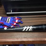 This bat did a lot of damage today! #HatTrick http://t.co/C8cm1ANpAy