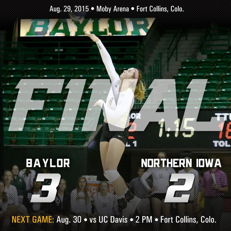 BEARS WIN IN 5! Congrats to Coach McGuyre on 1st win. Andy Malloy nearly had a triple-double (17K, 13D, 9B). #SicEm http://t.co/tmQWmHT3kL