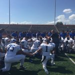 Vela with a post game prayer. Vela gets ready for Harlingen South next. @956sports #956football http://t.co/aE6BTdmFy3