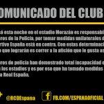 ATENCIÓN: Comunicado oficial de Real Club Deportivo España sobre los incidentes de esta noche. http://t.co/b6tP4LVQUS