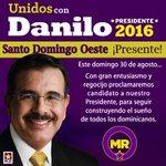 PLD Santo Domingo Oeste ¡Presente! ¡Danilo Medina Presidente 2016! http://t.co/f5OYxIkL55