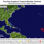 8/29/15 8pm Outlook from NHC: Erika remnants have 20% chance of regenerating over next 2 days, low off Africa 80%. http://t.co/xL4ui6cY20