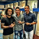 All smiles after a good win, @jamesdrodriguez, @Cristiano and @MarceloM12 take a photo before leaving the stadium http://t.co/g3oDyBWxdR