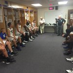 Coach Ron Abegglen speaking with the White team before the game. #WeAreWeber http://t.co/4l88vcXI8q