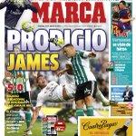 #HalaMadrid Portada @marca Real Madrid 5 - Real Betis 0 Con 2 Golazos del colombiano @jamesdrodriguez http://t.co/zTgUuj3n31