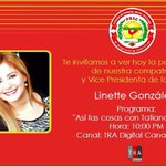 """Vea hoy a las 10 pm  a Linnet Gonzalez en el Programa """"Así las cosas"""" con Tatiana Rosario canales 45 y 12 http://t.co/ZjocLPUM7K"""