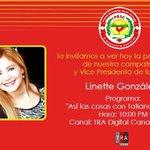 """Vea hoy 10 pm a Linnet Gonzalez en el Programa """"Así las cosas"""" con Tatiana Rosario canales 45 y 12 @NGReformista http://t.co/eHF0mzPV6F"""