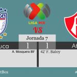 #LigaMX @Tuzos 1-1 @atlasfc Termina el partido. Pachuca rescata un punto ante los Rojinegros. http://t.co/pBZtgyjOFW