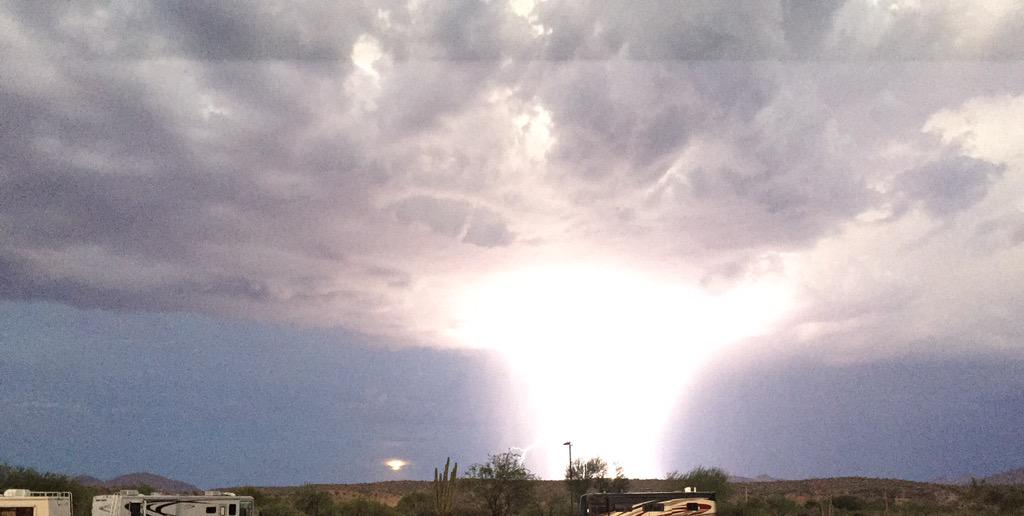 I shot this lightning strike next to the Super Moon in Fountain Hills. iPhone 6 #nofilter http://t.co/EQrra6XG5w