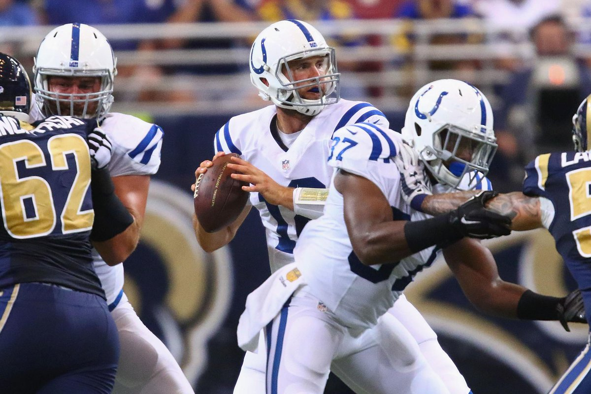 Andrew Luck goes 12-21 for 161 Yds including a 32-yard TD pass to Andre Johnson as Colts top Rams, 24-14.