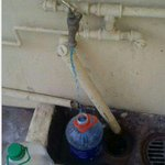 Running the taps in Gaborone, Botswana during drought.The blue smells like chlorine.The brown gets boiled to drink. http://t.co/Sw6ux8kEFp