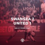 FT: Swansea 2 #mufc 1. A first defeat of the season for United after the Welsh side overturned Matas opener. http://t.co/4r1yA8CR6N