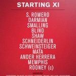 #mufc XI: Romero; Darmian, Smalling, Blind, Shaw; Schneiderlin, Schweinsteiger; Mata, Herrera, Memphis; Rooney. http://t.co/XSjZAiYe1Q