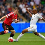 PIC: Bastian Schweinsteiger skips away from Andre Ayew. Its Swansea 0 #mufc 0 with just over half an hour gone. http://t.co/Uw5t10h89i