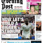 Tomorrows @SWEveningPost front page: After United win, now lets build a bigger stadium, says Huw Jenkins #swans http://t.co/tU3vEG0YoJ