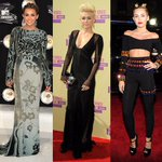 .@MileyCyrus on the #VMAs red carpet through the years... can't wait to see her outfit(s) of choice tonight!