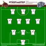 Check out the starters for todays match against @UTEPSoccer! #TXSTvsUTEP #battlecry #eatemup #TXST #TXStateSoccer http://t.co/mEBSNltnRi