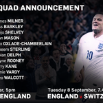Roy Hodgsons 22-man squad for September fixtures against San Marino and Switzerland. http://t.co/kRDFbsuySr http://t.co/1IEzoerota