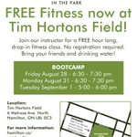 FREE hour-long BOOTCAMP fitness sessions coming to Tim Hortons Field tonight & tomorrow! #HamOnt http://t.co/PnmF68P983