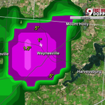 Large hail possible over Waynesville in Warren Co. Heavy rain & gusty winds to near 50 mph reported. @wcpo #cincywx http://t.co/8S1h7RPinc