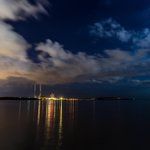 City lights to the left of me & moonlight to the right... #Dublin #Poolbeg #Moonlight @OldeEire @CrumlinFuels http://t.co/E93uLeNjvn