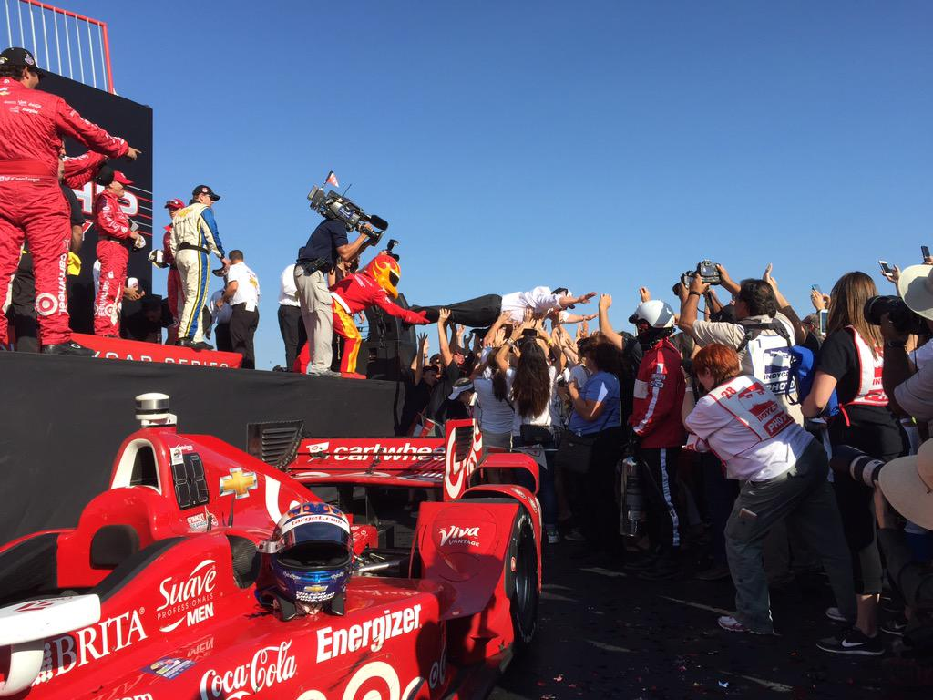 Yes ladies and gentlemen that is @GanassiChip crowd surfing at the #GoProGP @CGRindycar @IndyCar http://t.co/t2D76VgD3v